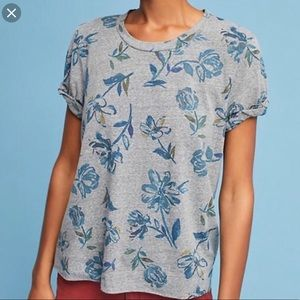 Anthropologie T.La Floral t-shirt size Small